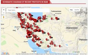 Map of Protests in Iran-April and May 2018