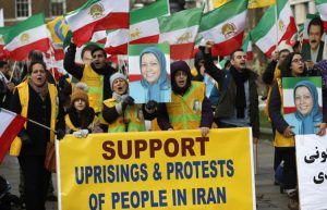 MEK supporters rally in London in solidarity with Iran Protests.