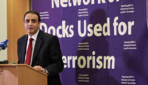 Hossein Abedini during a news conference in London-2016