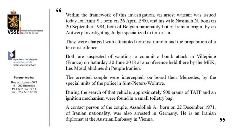 Belgium prosecutors confirmation on the role of regime diplomat in terrorist attack against Iranian dissidents.