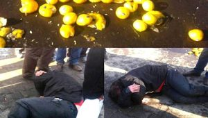 Iranian regime security forces attack street vendors