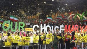 Supporters of Iranian opposition leader, Maryam Rajavi, welcome her to the grand gathering of Iranians in Paris- 2016