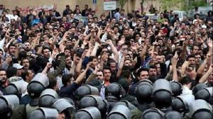 Iran's security forces suppressing the peaceful protests in Iran