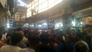 The Shoe-Baazar owners and workers protesting against high prices and the government's mismanagement