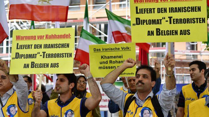 MEK supporters protest in Berlin demanding extradition of Iran's diplomat terrorists