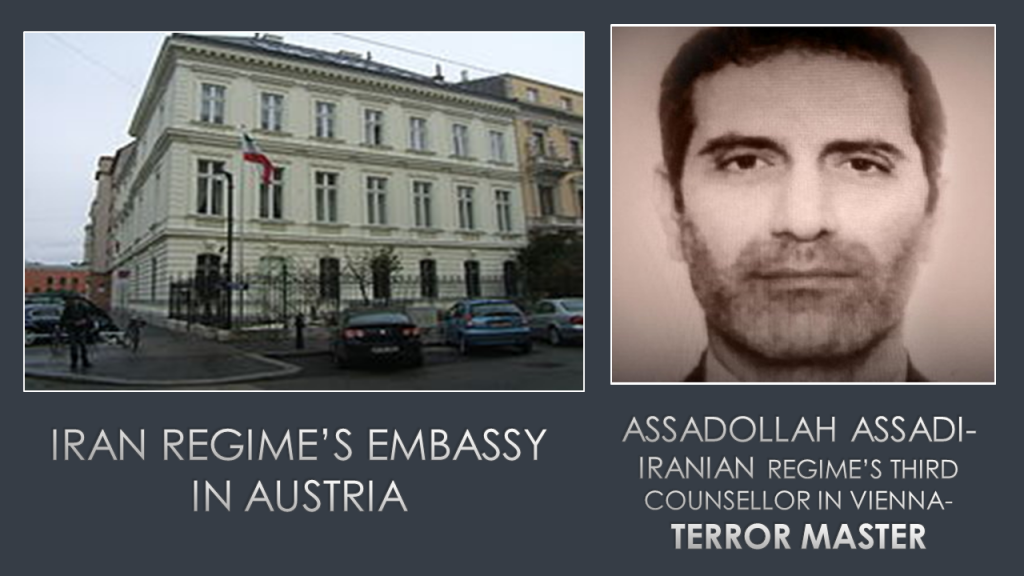 Assadollah Assadi, the arrested diplomat terrorist for plotting a terrorist attack on the opposition's gathering