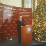 Ambassador Adam Ereli welcoming the guests in the Iranian opposition ceremony at the Hill.