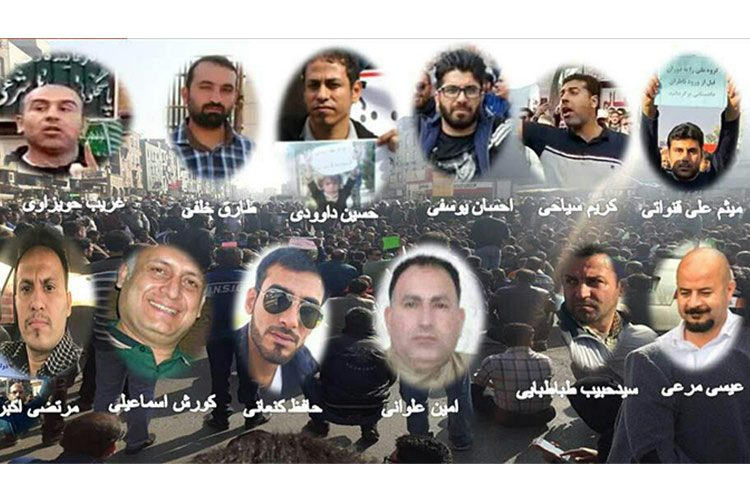 Some of the steelworkers who were arrested by the Iranian regime repressive forces in an over night raid to their houses.