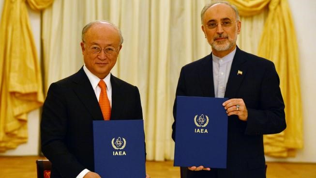 Salehi meeting with Yukiya Amano Director general of the International Atomic Energy Agency