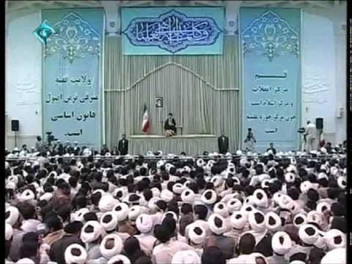 Khamenei, speaking among regime supporters in Qom.