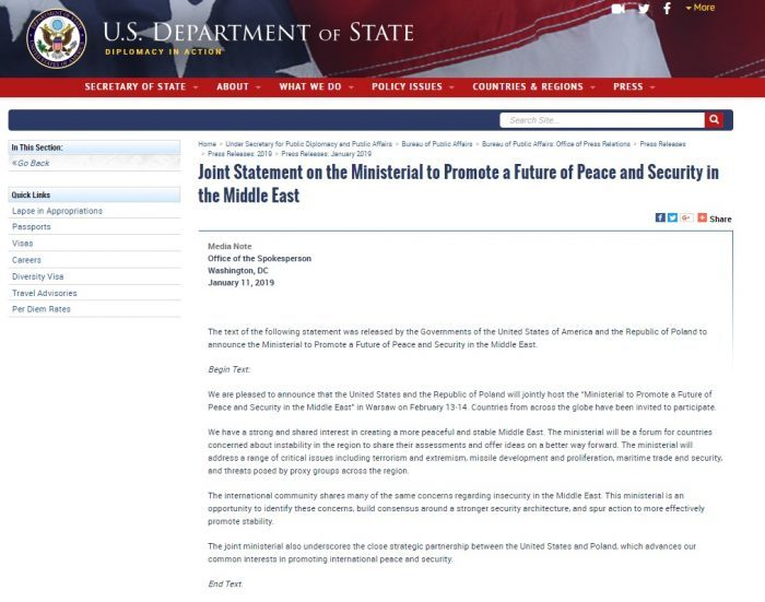 Statement by the U.S. state department on upcoming Warsaw Conference