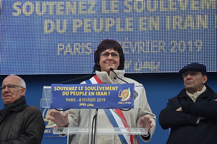Michéle de Vaucouleurs,French MP addressing Free Iran rally