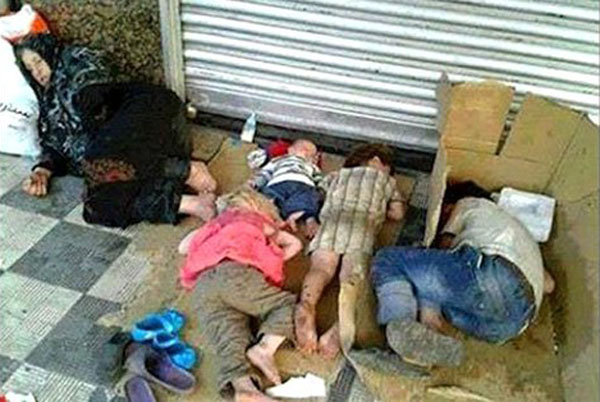 Disturbing view of children sleeping in streets in Iran