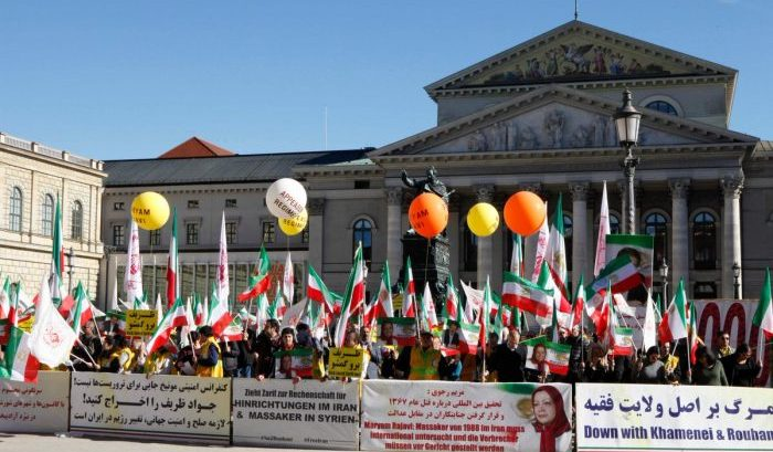 MEK demonstration outside MSC2019 conference in Munich