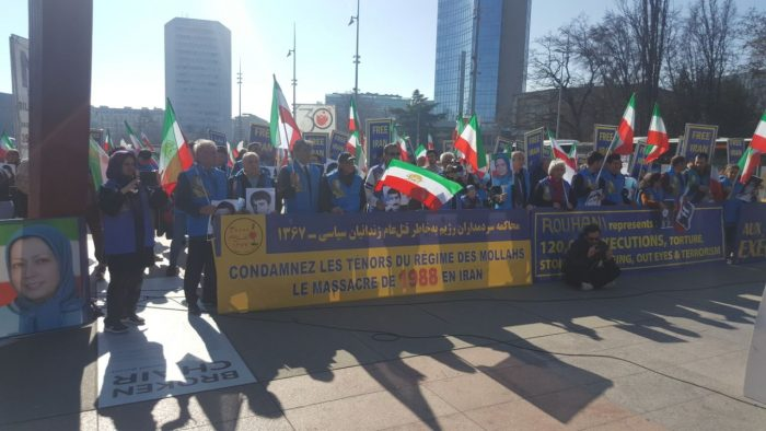 MEK's supporters protest outside HRC40 in Geneva