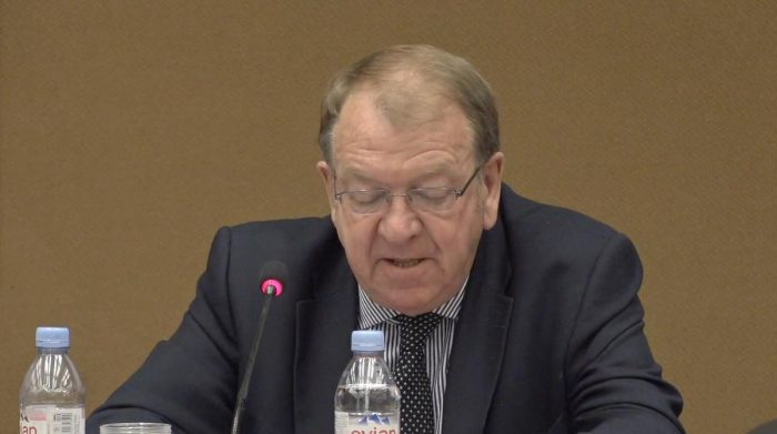 Struan Stevenson speaking at the Geneva conference on the situation of human rights in Iran