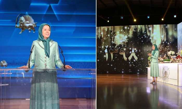 President-elect Maryam Rajavi speaking at Nowruz celebration at Ashraf 3, MEK place of residence.