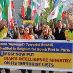 Iranians protest against regime's expansion of terrorism in Europe.