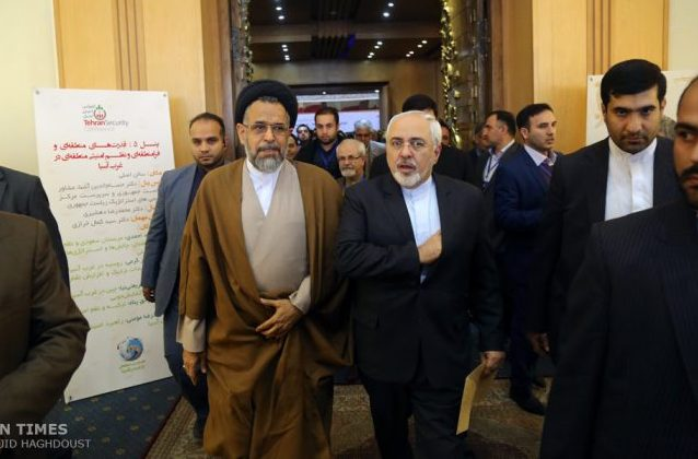 Zarif and Alavi during Tehran's security conference