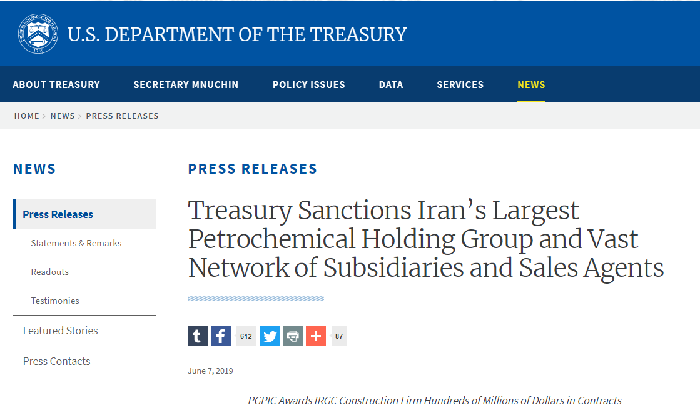 The U.S. Treasury department Sanctions Iran's Petrochemical