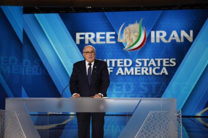 Rudy Giuliani, addressing MEK members at their Ashraf3 compound in Albania