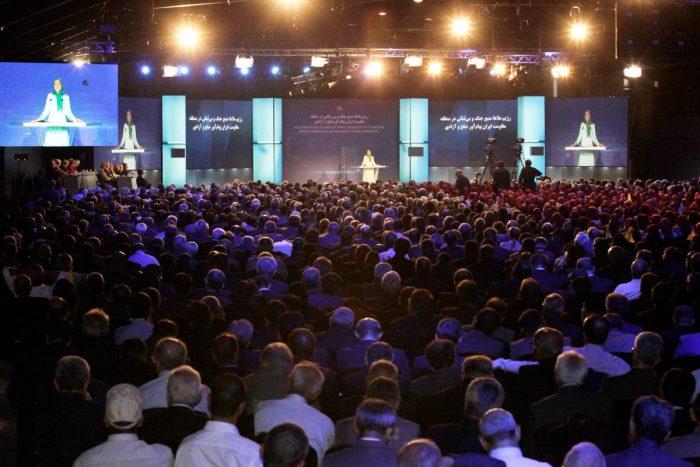 Maryam Rajavi at a conference in Ashraf-3