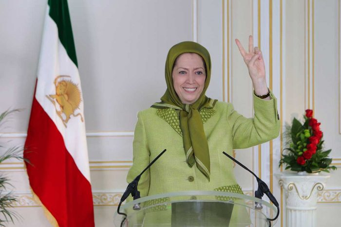 Maryam Rajavi addressing MEK supporters during free Iran rally