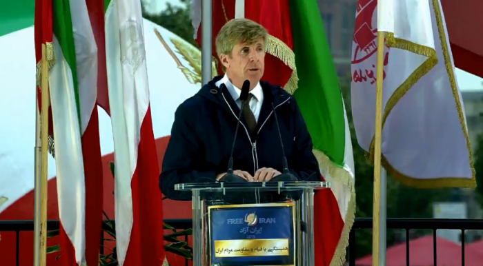 Rep. Patrick Kennedy speaking at FreeIran rally in Berlin