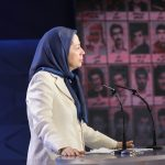 Maryam Rajavi addressing MEK members during 1988 Massacre Conerence