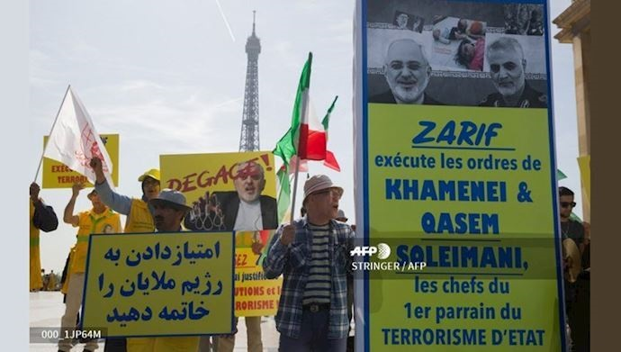 Iranians protest against Zarif in Paris