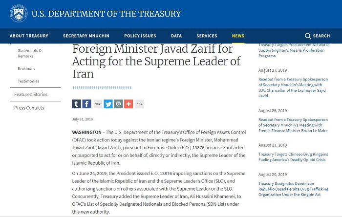 The US lists Zarif