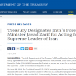 The U.S. Treasury department sanctions Javad Zarif