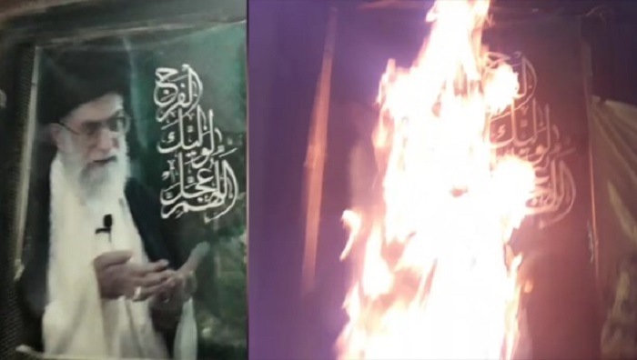Torching symbols of Khamenei
