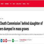 The British website the Daily Star Online reported the release of a new book about the 1988 Massacre in a November 12, 2019 article.