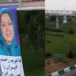 Poster of Maryam Rajavi hung by MEK resistance unit