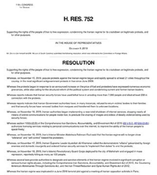 U.S. House of Representatives Introduces Resolution Supporting Protesters, Condemning Regime