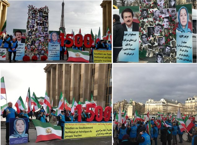 MEK supporters rally in solidarity with Iran Protests in Paris-December 26, 2019
