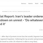 Reuters confirms MEK's last report on the number of Iran Protesters killed by regime repressive forces during November Protests
