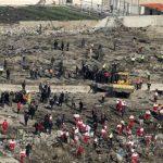 The scene of the crash hours after the Ukranian passenger plane crashed-January 8, 2020
