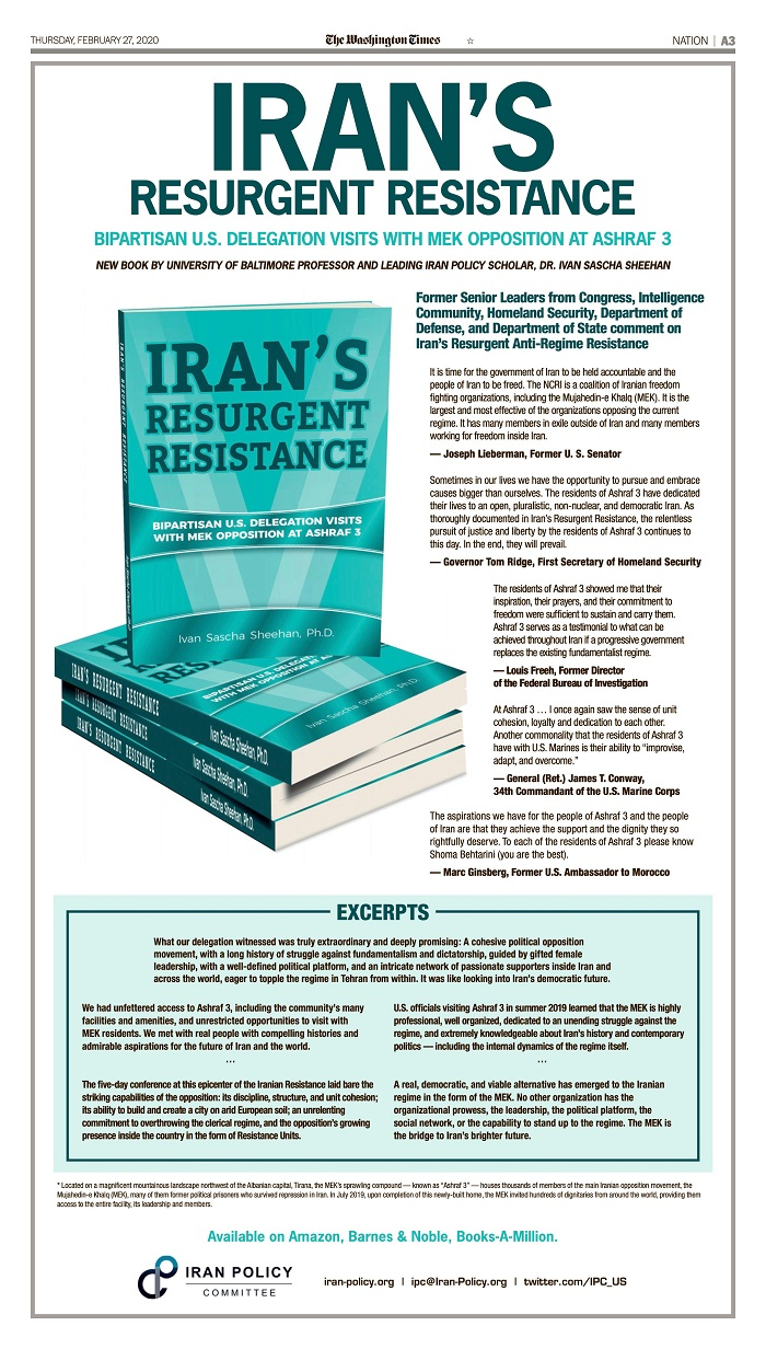 "Review of ""Iran's resurgent resistance"", by University of Baltimore Professor Ivan Sascha Sheehan"