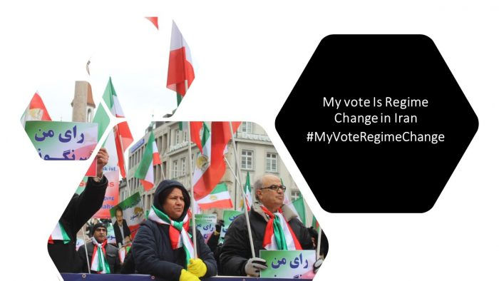 MEK supporters rally in Berlin, calling for boycotting the election