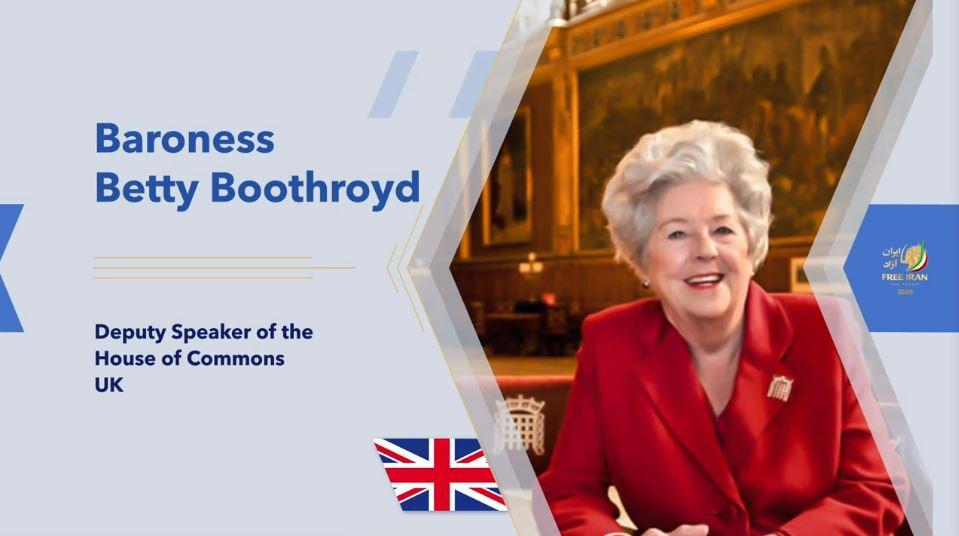 Baroness Betty Boothroyd, former UK Speaker of the House of Commons