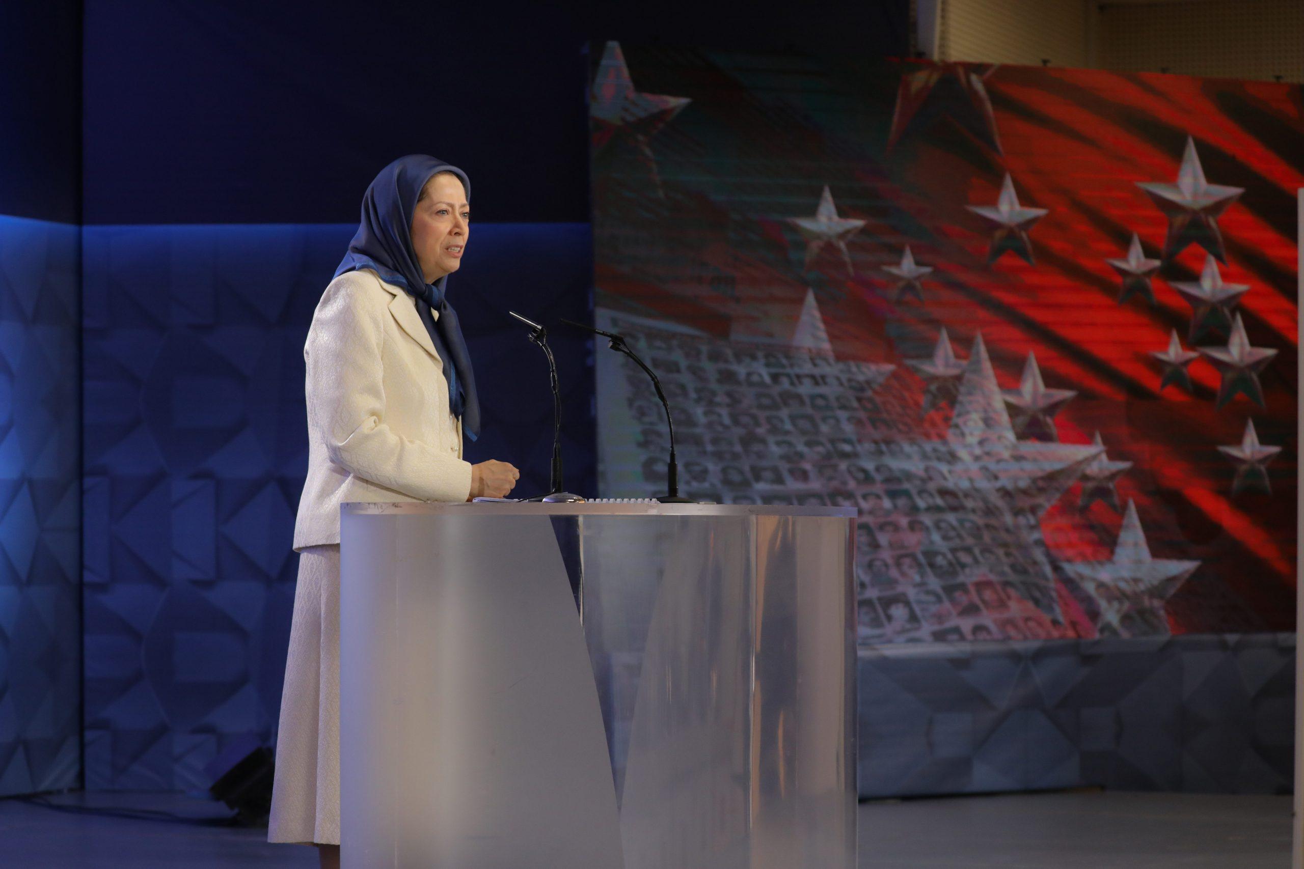 Maryam Rajavi, addressing MEK members on the anniversary of the 1988 massacre of 30,000 political prisoners