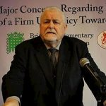 Lord Maginnis speaks at a parliamentary meeting in support of the MEK