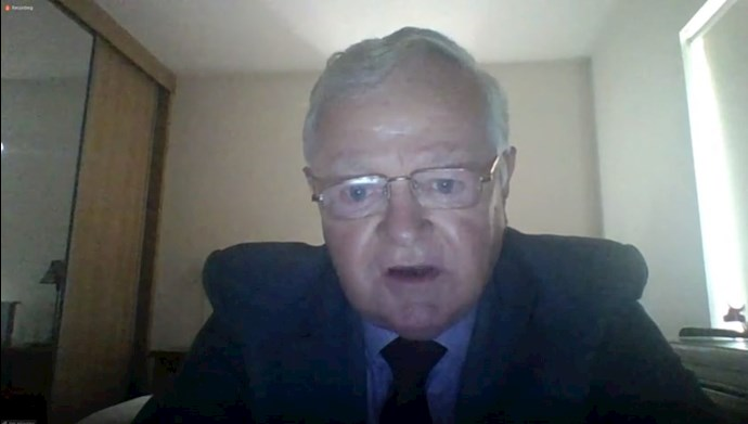 10 September 2020 – Former Irish member of the European Parliament, Jim Higgins, in British Committee for Iran Freedom conference on the Iran 1988 massacre.