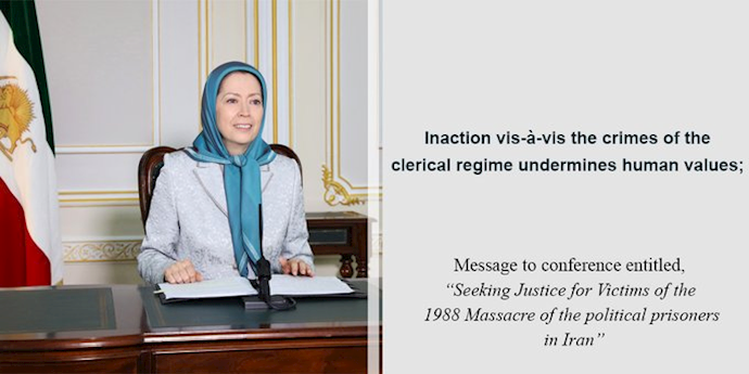 10 September 2020 – NCRI President-elect Maryam Rajavi in British Committee for Iran Freedom conference on the Iran 1988 massacre.