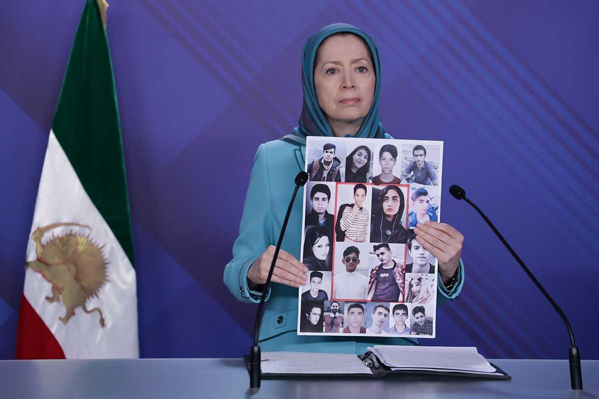 Maryam Rajavi speaks at the event