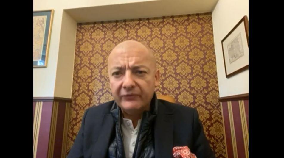 Michał Kamiński speaks at the event