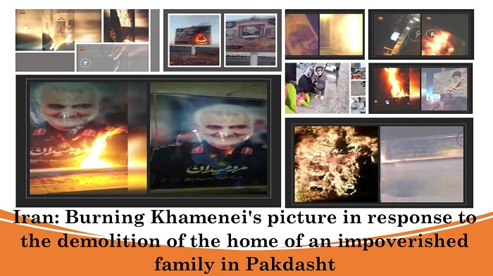 Burning Khamenei's picture